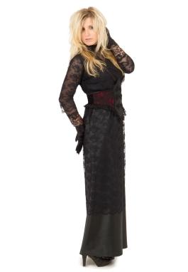 Steampunk Black Edwardian Dress and Cincher