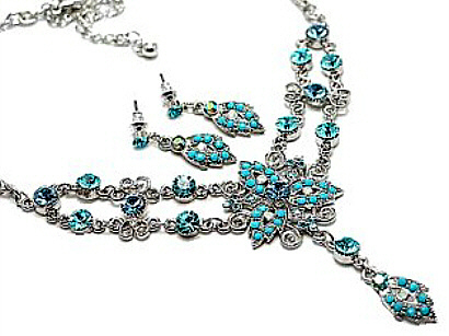 Turquoise Austrian Crystal Jewelry Necklace Set