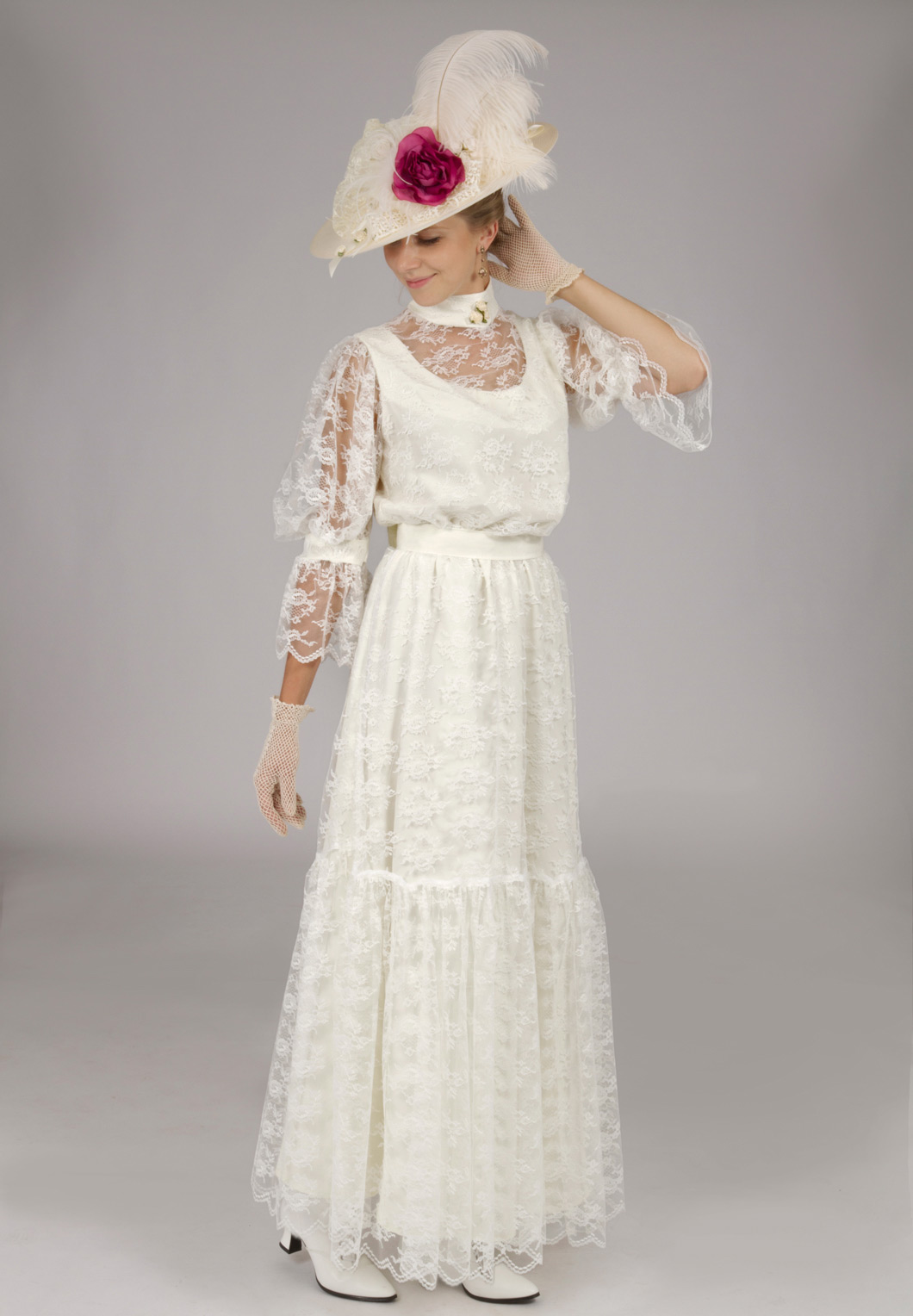 Chantilly lace edwardian dress recollections for Old west wedding dresses