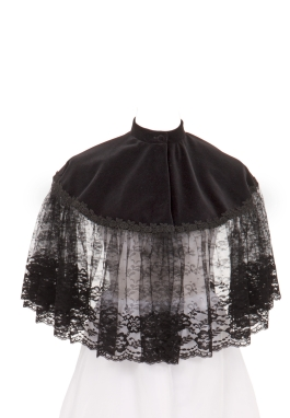 Victorian Velvet Lace Ruffled Cape