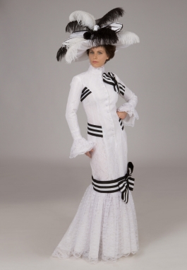 Edwardian Ascot White and Black Gown