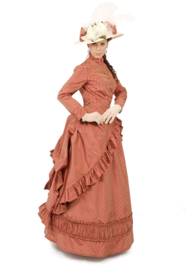 Silk Stripe Victorian Polonaise
