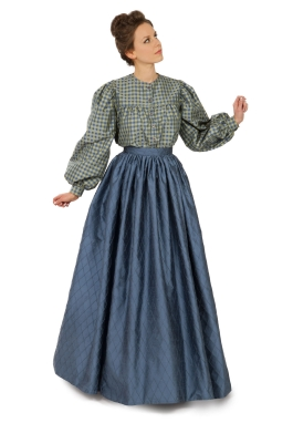 Victorian Silk Plaid Blouse and Skirt