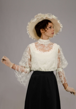 Chantilly Lace Blouse with Beaded Trim