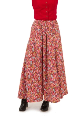 Print Cotton Split Skirt
