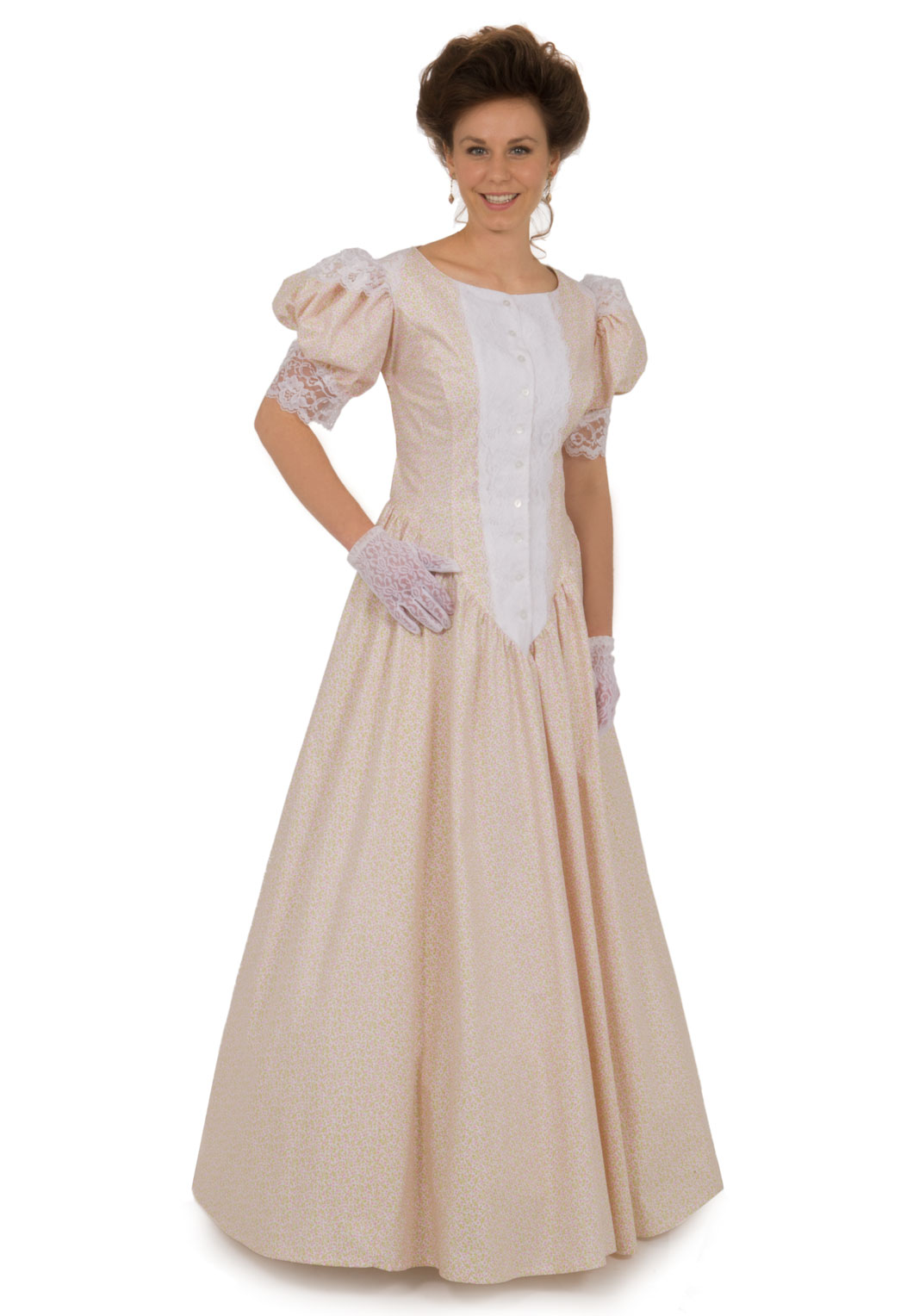 Classic print victorian dress recollections for Old west wedding dresses