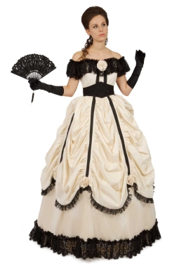 Off Shoulder Victorian Civil War Ballgown