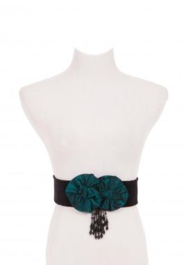 Velvet Belt with Rosettes