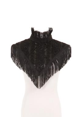 Black Satin Fancy Collar