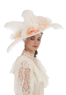 Ivory and Peach Edwardian Hat