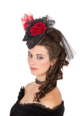 Red Roses Teardrop Victorian Hat