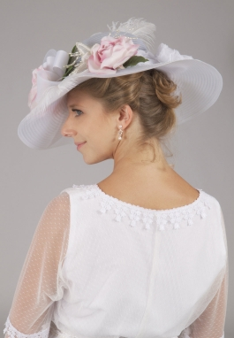 White Edwardian Pink Roses Hat