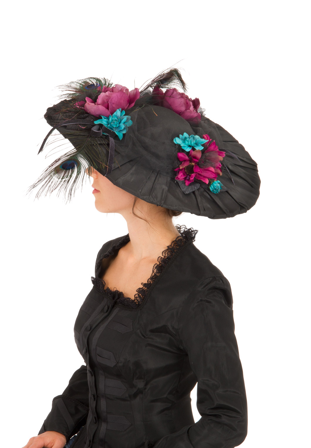 Black Edwardian Pleated Taffeta Hat