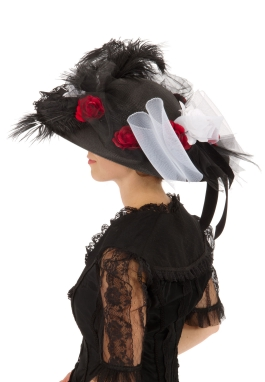 Black Edwardian Hat with White and Red Roses