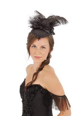 Victorian Black Satin Teardrop Hat
