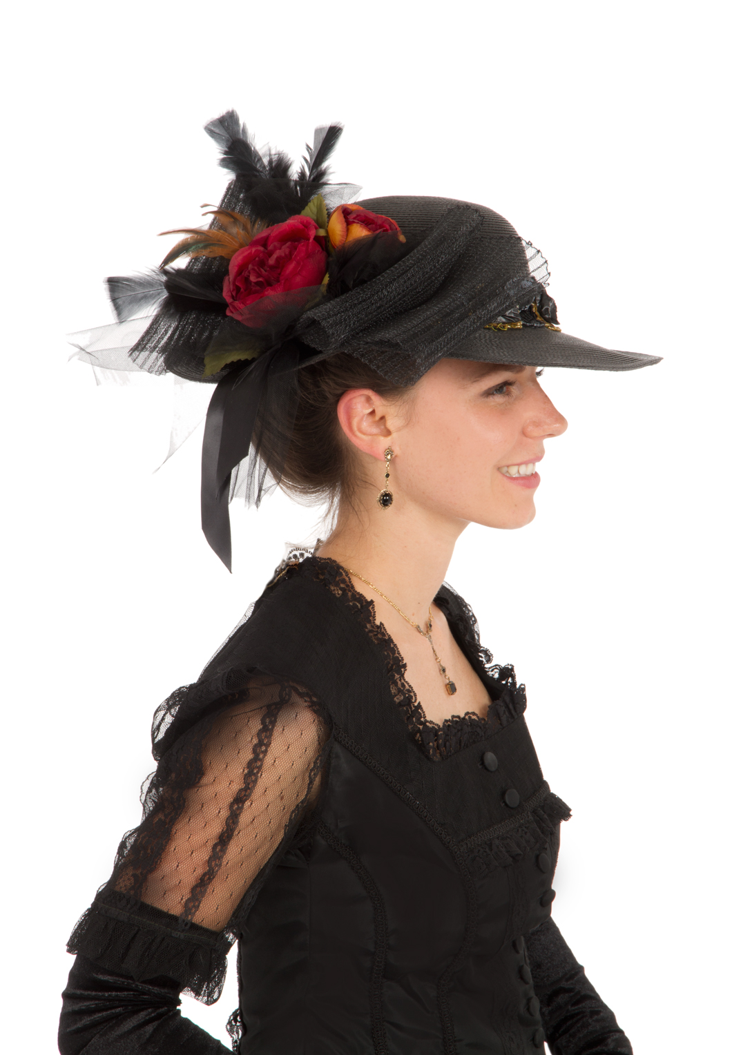 Victorian Edwardian Black Autumn Hat