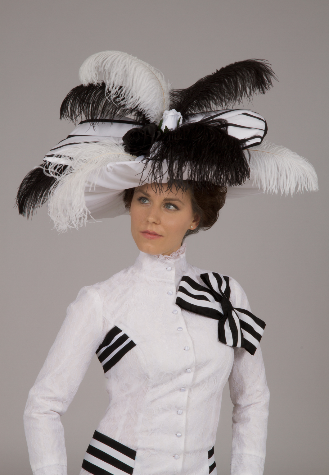 Edwardian Ascot White And Black Gown Recollections