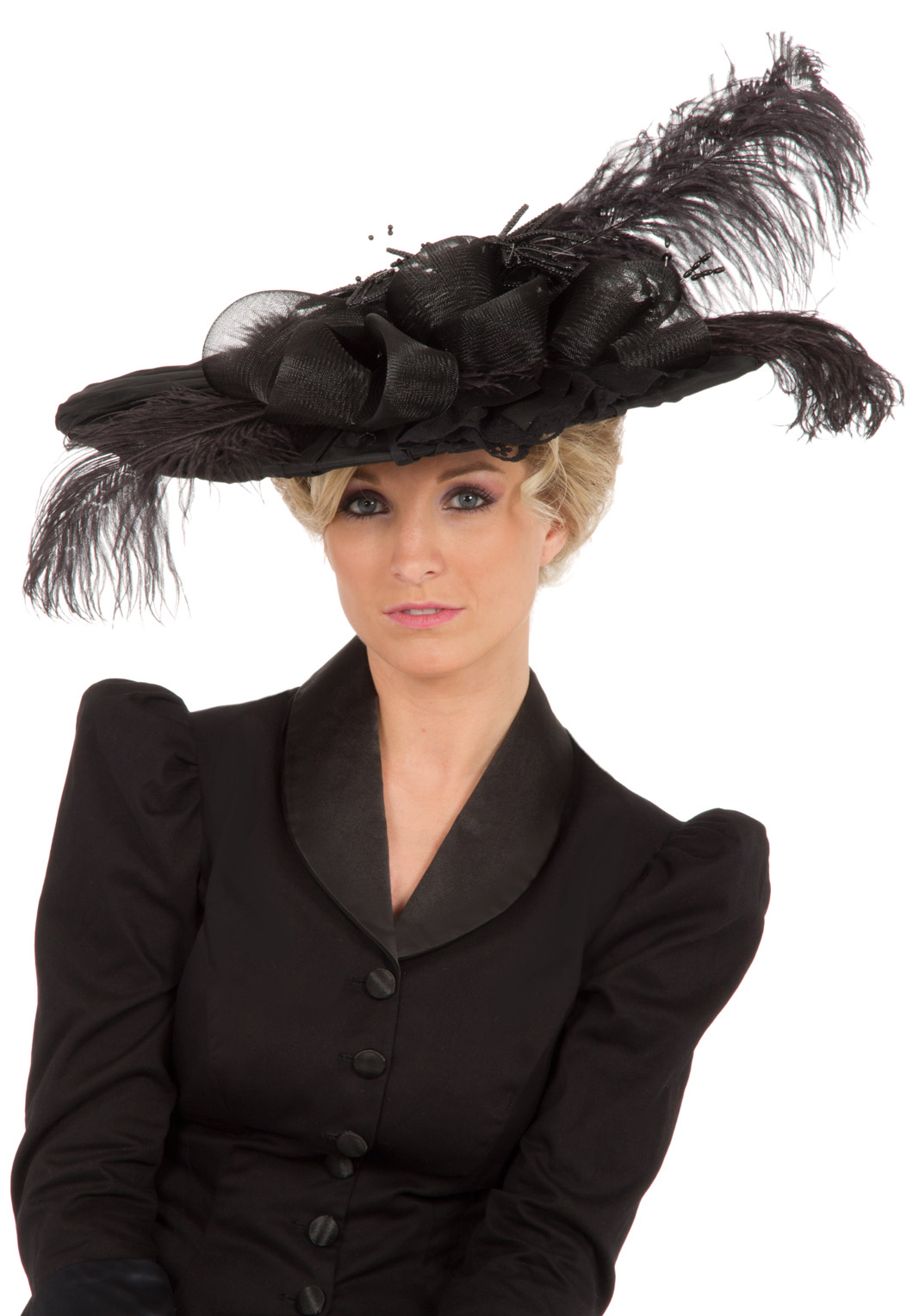 Black Edwardian Pleated Hat