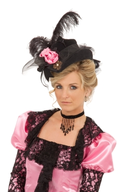 Black Satin Roses Perch Hat