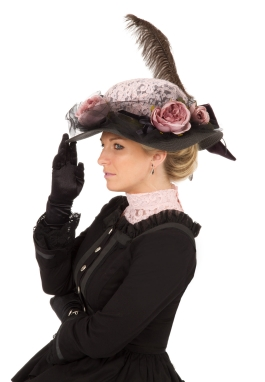 Edwardian Black and Rose Hat