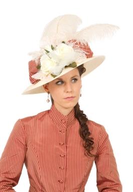 Wide Brimmed Victorian Silk Stripe Bow Hat