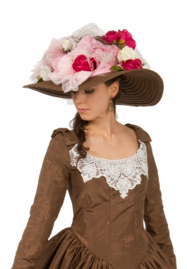 Victorian Wide Brimmed Pink Red Brown Hat