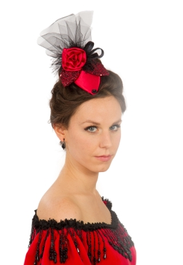 Red Satin and Black Teardrop  Hat