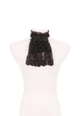 Black Lace Ruffled Jabot
