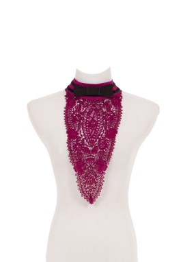Fuchsia Venice Lace Jabot with Bow