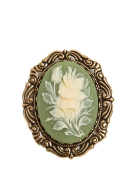 Green Cameo Flowers Pin