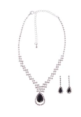 Jet Pear Necklace Set