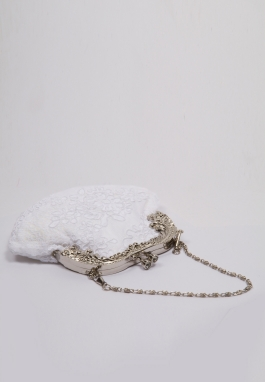 White Re-embroidered Lace Purse