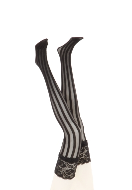 Black Vertical Striped Stockings