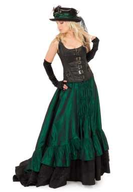 Steampunk Leather Corset and Victorian Skirt