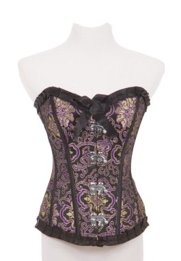 Purple and Gold Brocade Corset