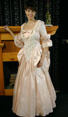 Silk, lace, beads, bustling, bows, flounces: 18th Century Gown on sale