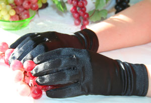 Black, Ivory, Pink or White Satin Gloves
