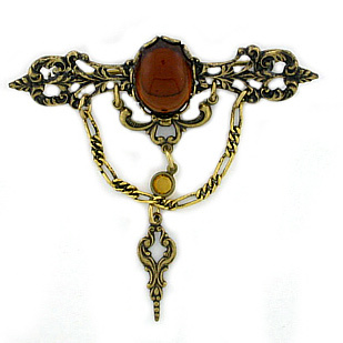 Topaz Filigree Bar Pin