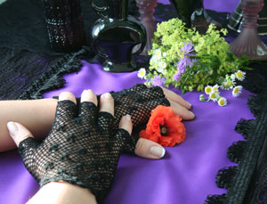 Black Half Finger Crochet Gloves