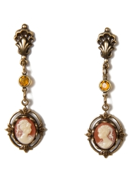 Antique Style Cameo Drop Earrings