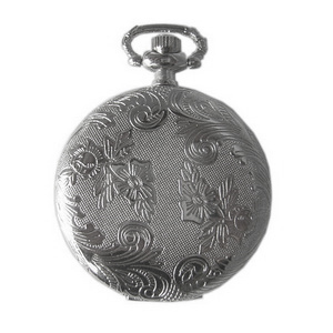 Silver Flower Etched Pendant Watch