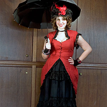 Red Onion Saloon staff member with parasol