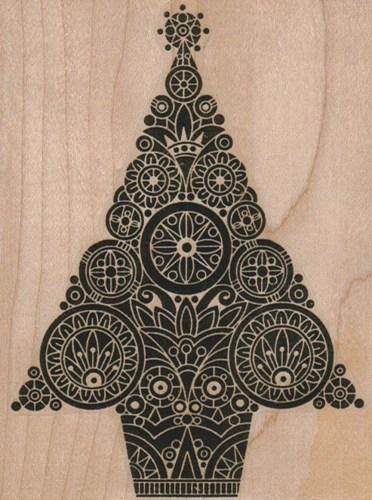 Wood block stamp Steampunk Chrismtas tree