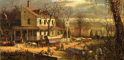 painting of covered wagon - Inn on the Roadside