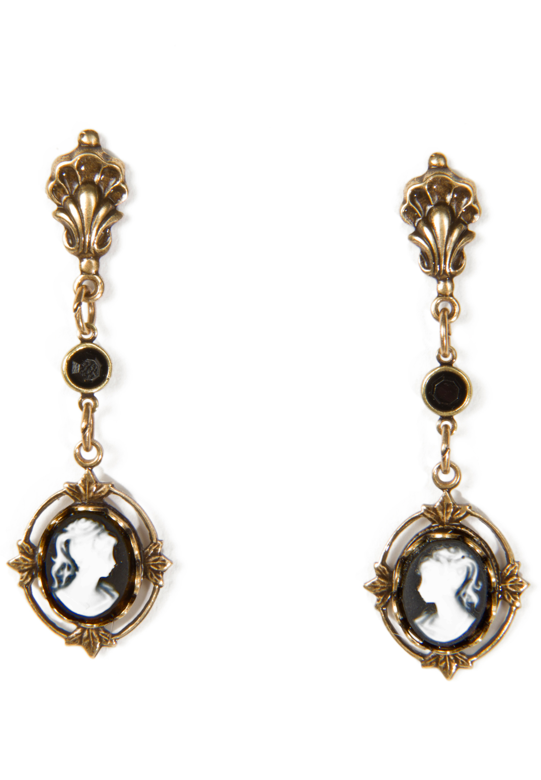 Black Antique Style Cameo Drop Earrings