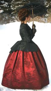black taffeta jacket and skirt