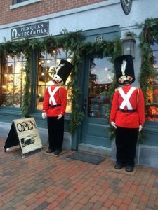 Pickwick's Mercantile storefront with toy soldiers lining doorway