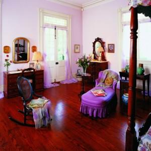 Mrs. Stewart's bedroom, the lavender room at Oak Alley Plantation