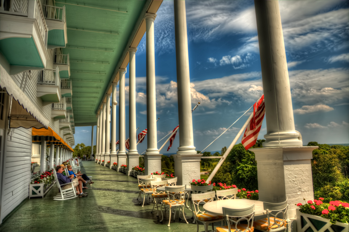 The Front Porch Of Historic Grand Hotel On Mackinac Island