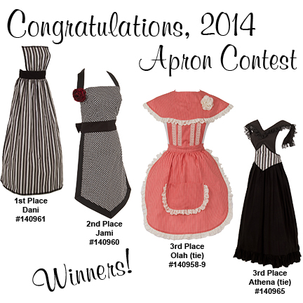 The four winning aprons from the contest
